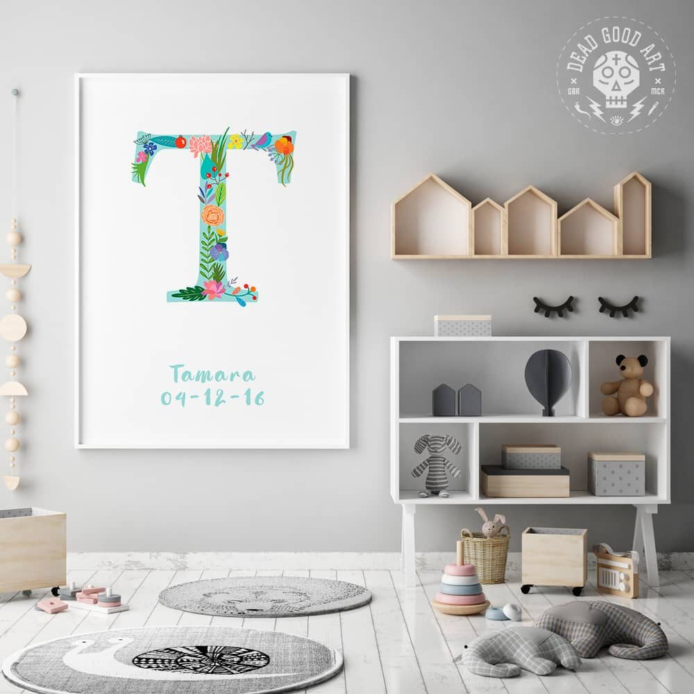 Floral Art T Personalized Name Print framed