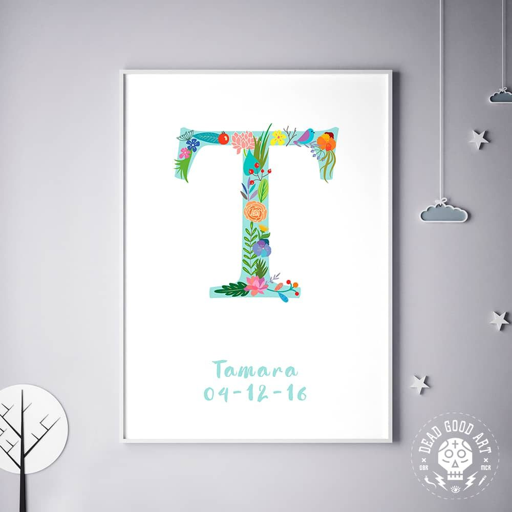 Floral Art T Personalized Name Print wall art