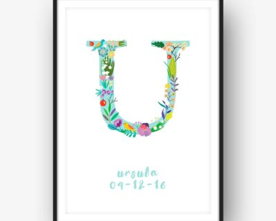 Floral Art U Personalized Name Print