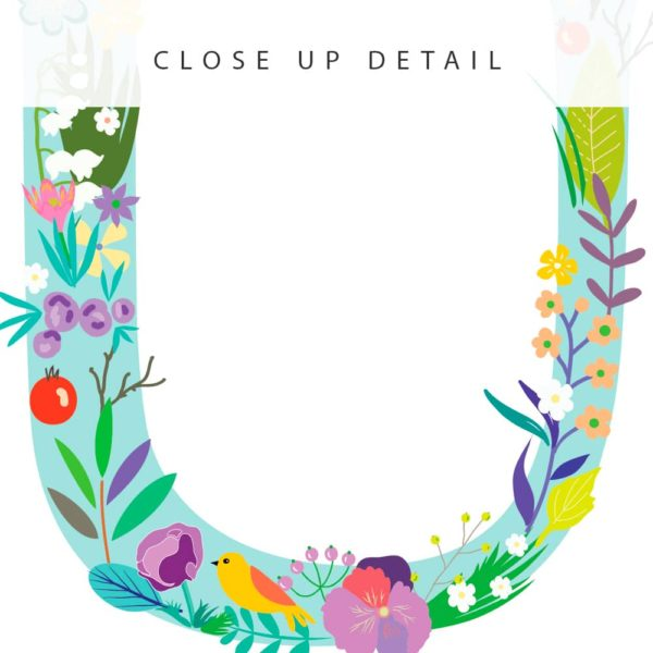 Floral Art U Personalized Name Print closeup