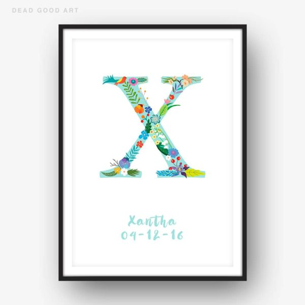 Floral Art X Personalized Name Print