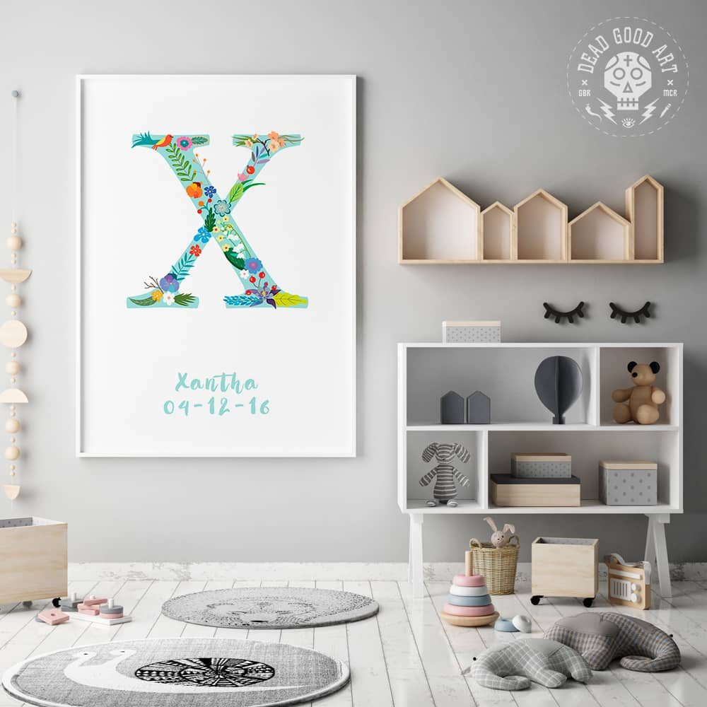 Floral Art X Personalized Name Print framed