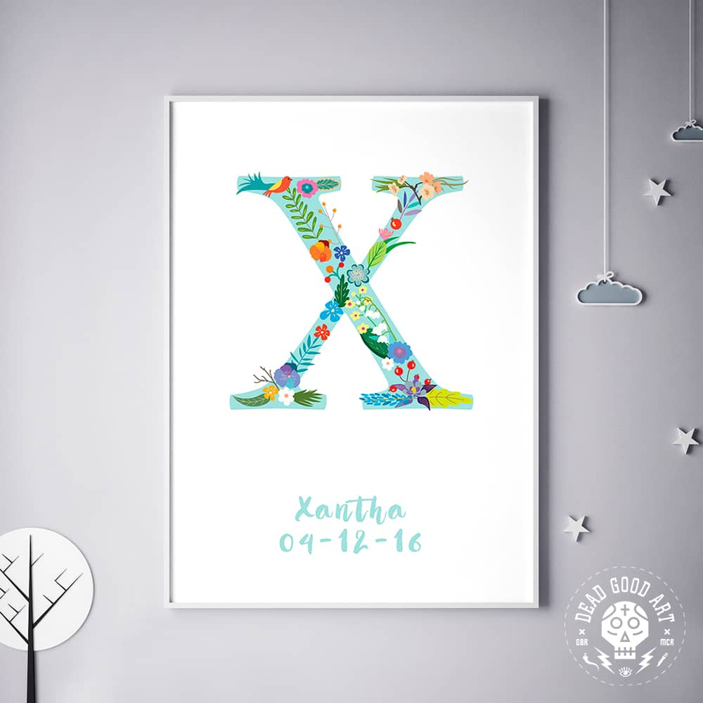 Floral Art X Personalized Name Print wall art