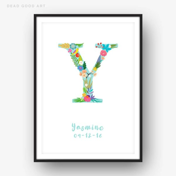 Floral Art Y Personalized Name Print
