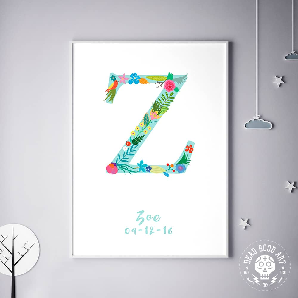 Floral Art Z Personalized Name Print wall art