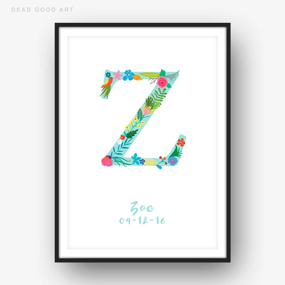 Floral Art Z Personalized Name Print