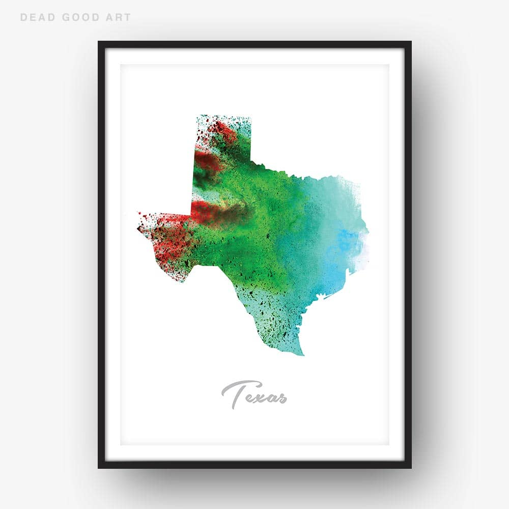 Texas State Map Green Watercolor Print