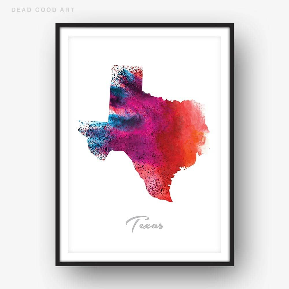 Texas State Map Red Watercolor Print