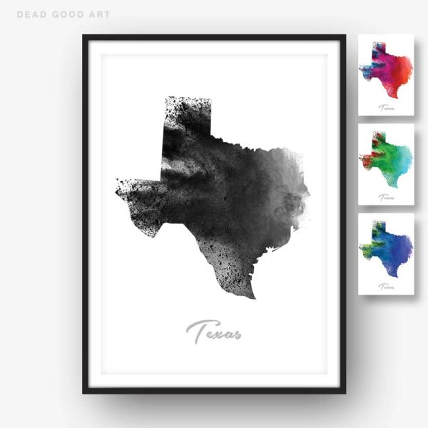 Texas State Map black white Watercolor Print