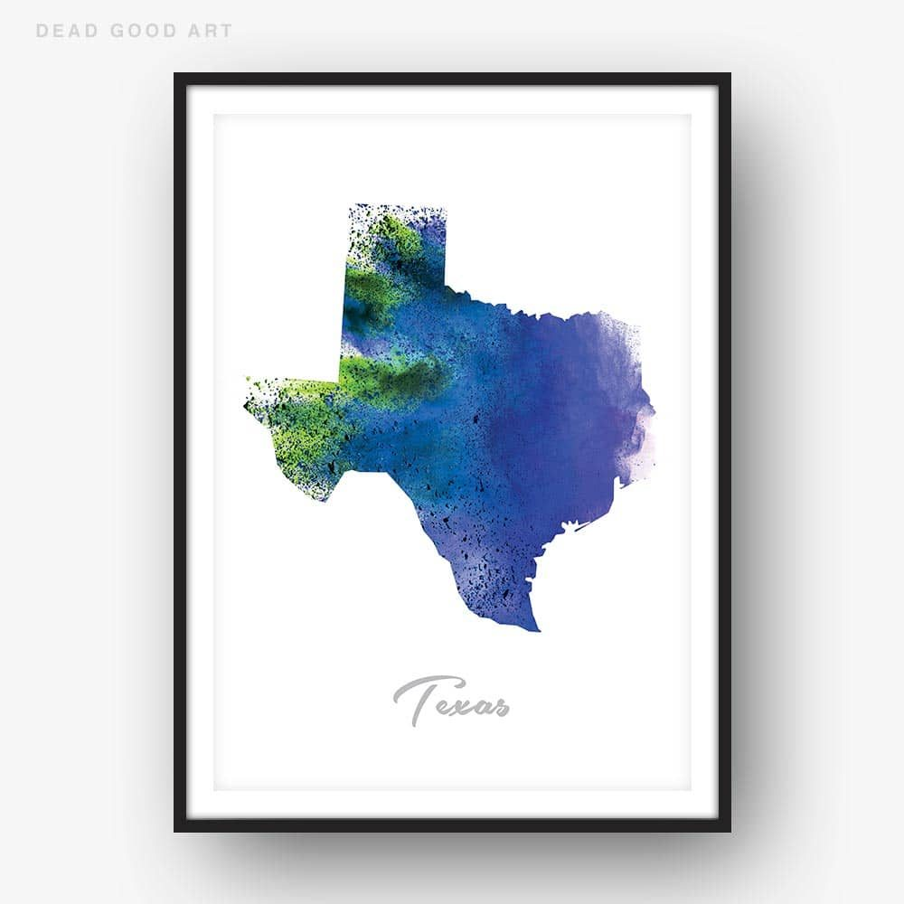 Texas State Map blue Watercolor Print