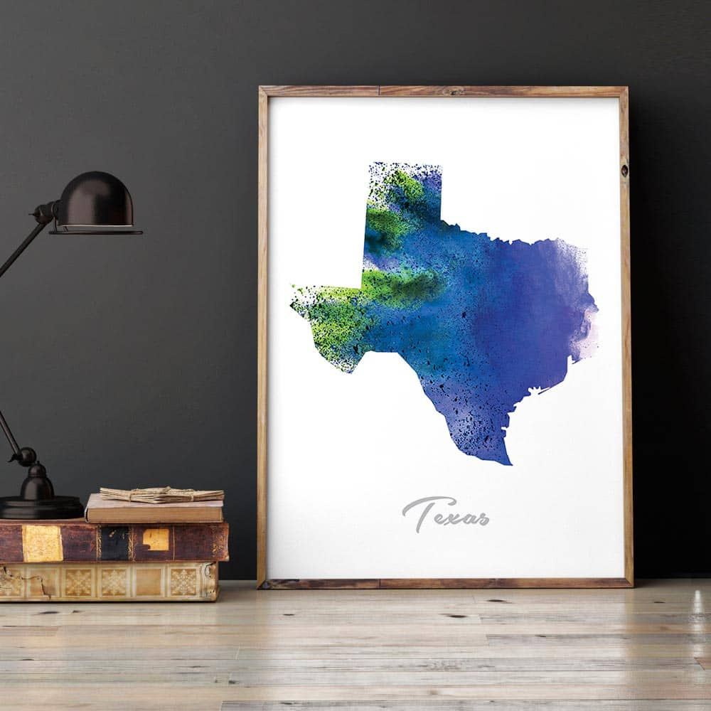 Texas State Map blue Watercolor Print framed
