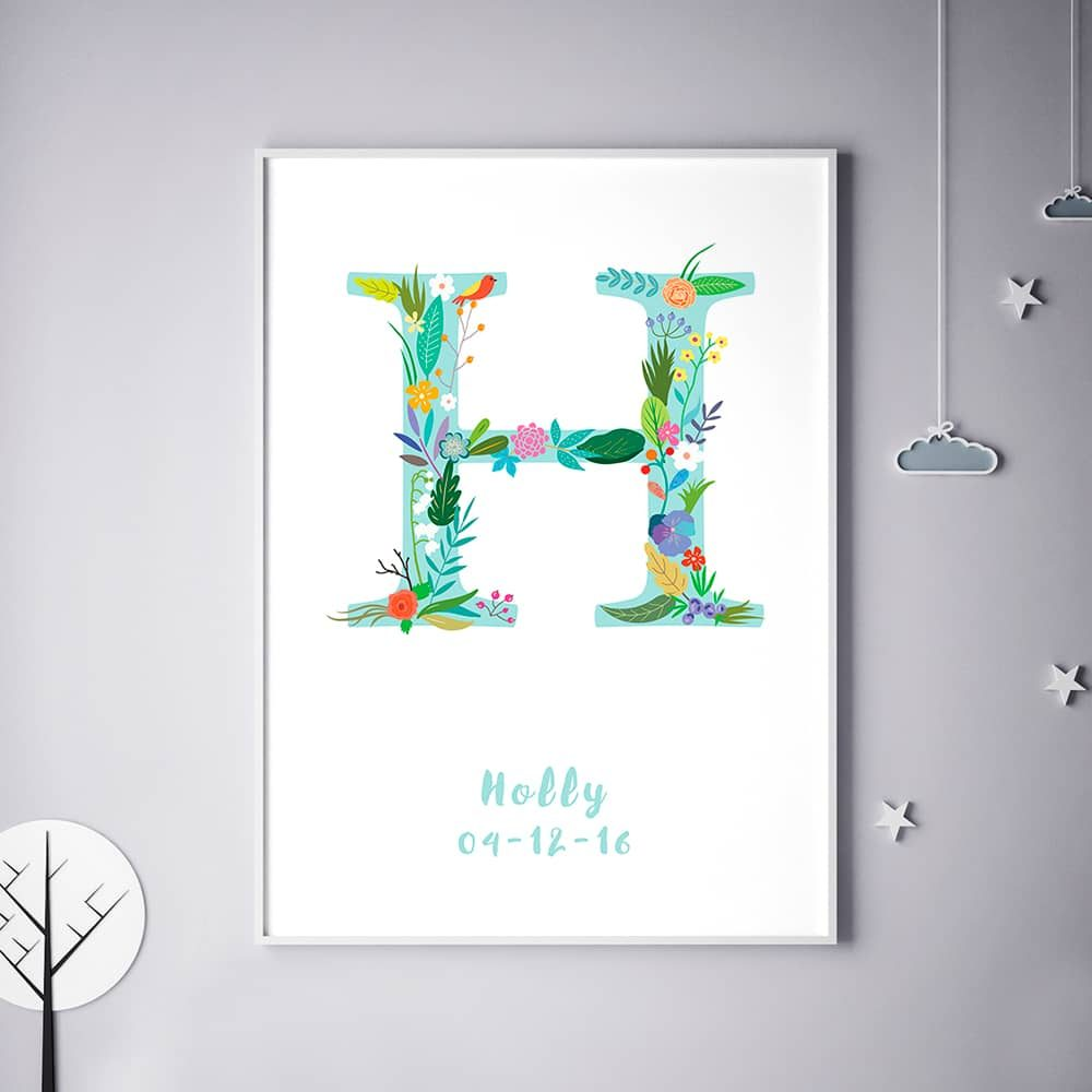 initial H Personalized Name print poster 1