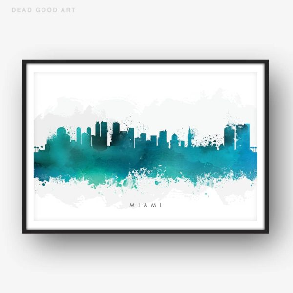 miami skyline green watercolor print