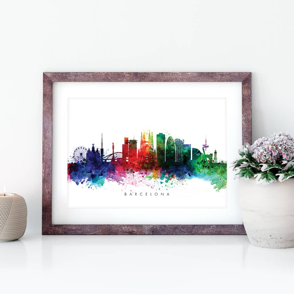 Barcelona skyline multi color watercolor print closeup