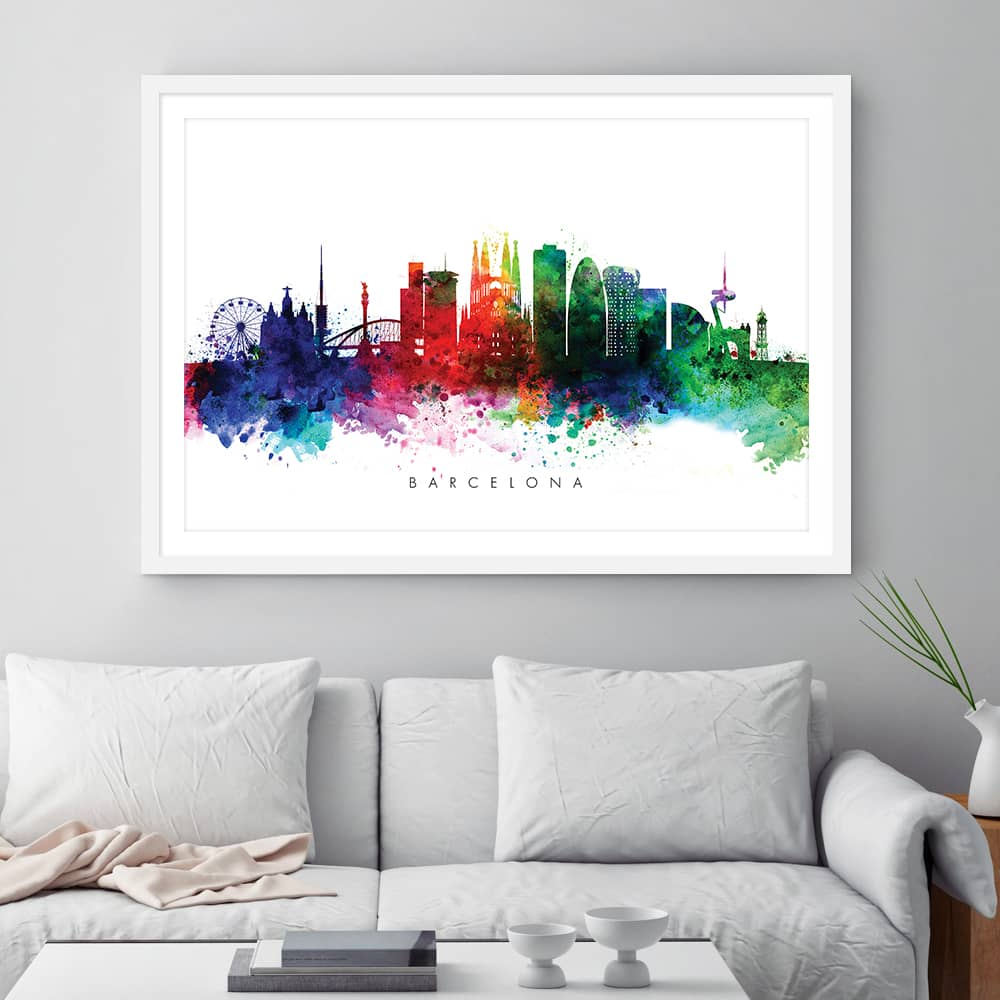Barcelona skyline multi color watercolor print framed