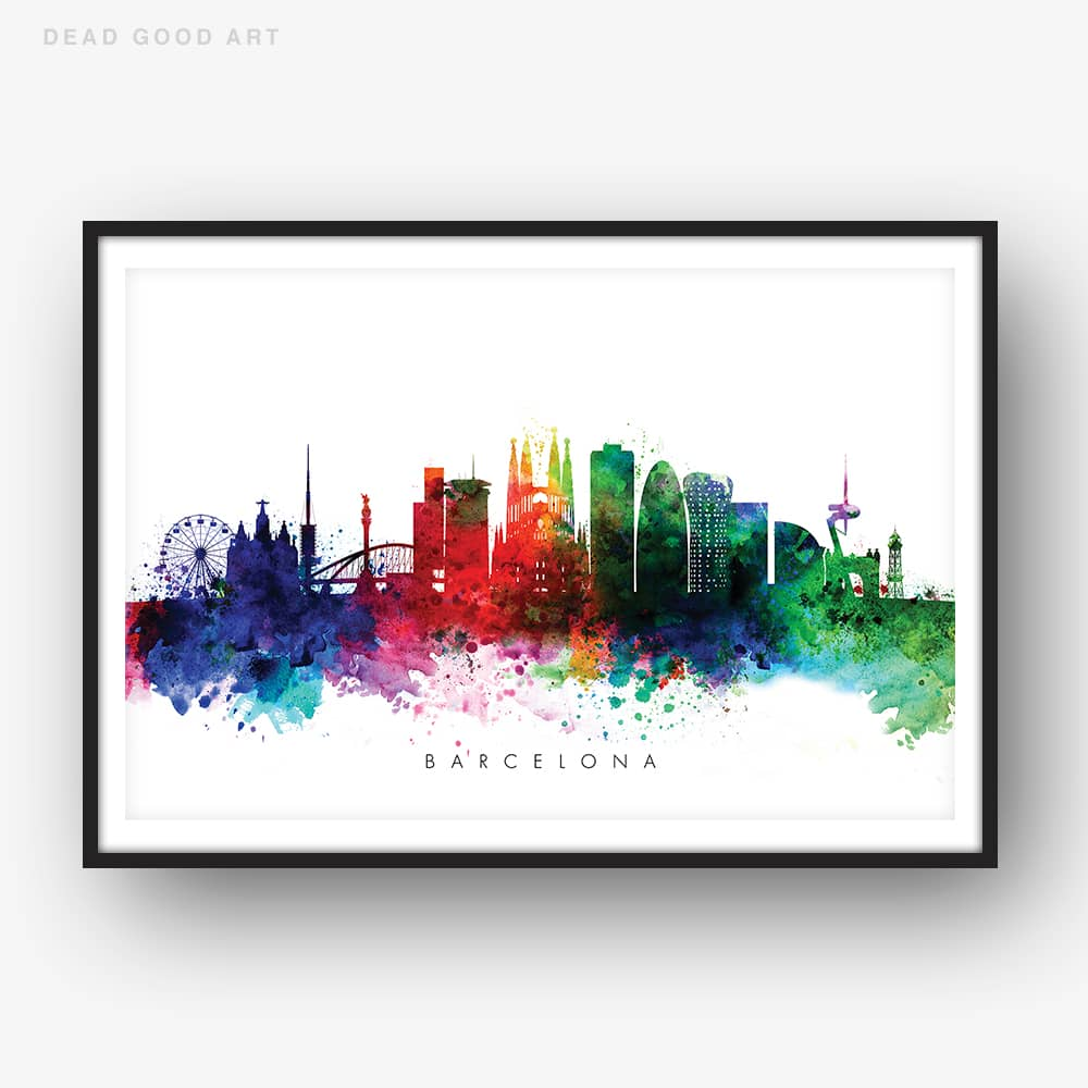 Barcelona skyline multi color watercolor print