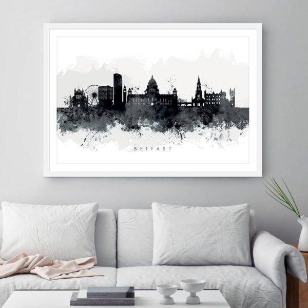 Belfast skyline black white watercolor print framed