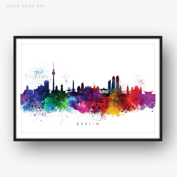 Berlin skyline multi color watercolor print