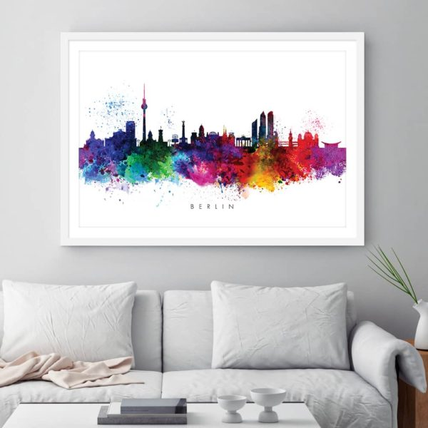 Berlin skyline multi color watercolor print framed