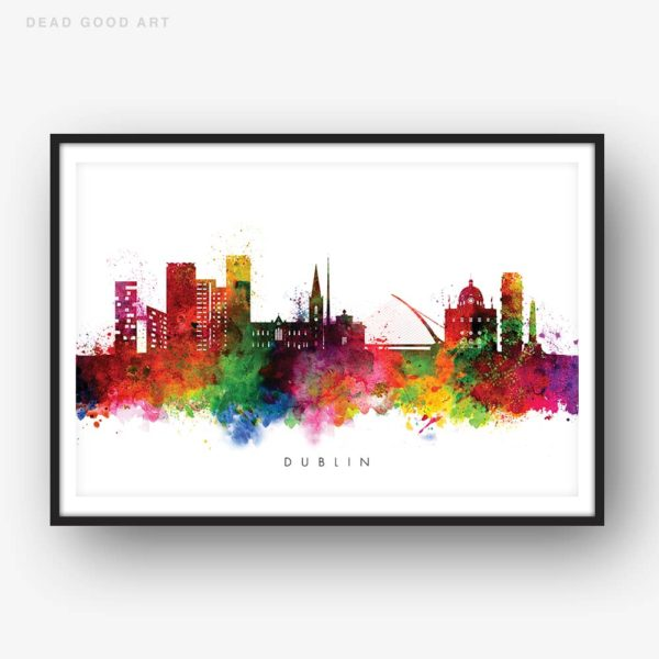 Dublin skyline multi color watercolor print