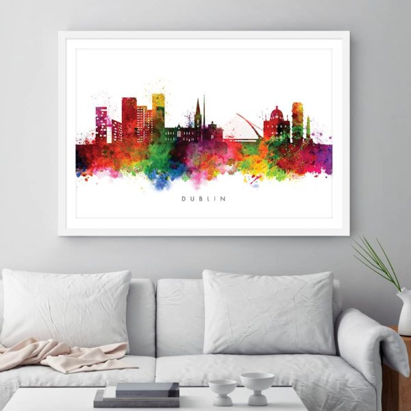 Dublin skyline multi color watercolor print framed
