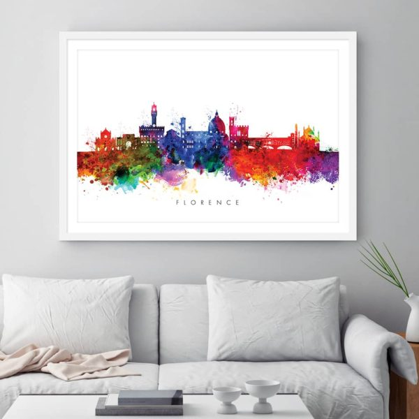 Florence skyline multi color watercolor print framed