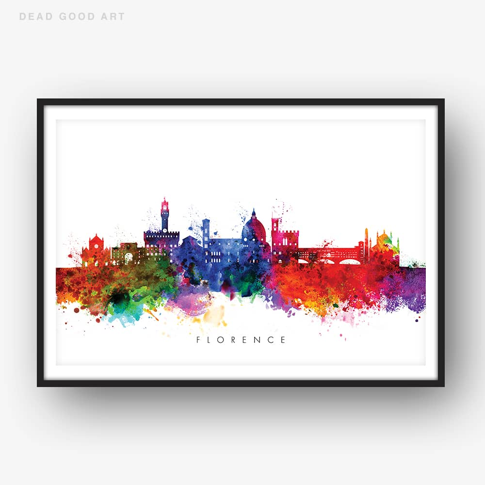 Florence skyline multi color watercolor print