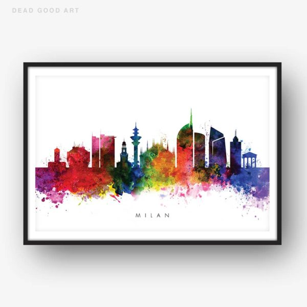 Milan skyline multi color watercolor print