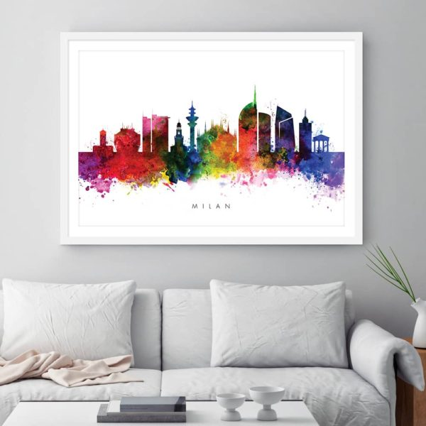 Milan skyline multi color watercolor print framed