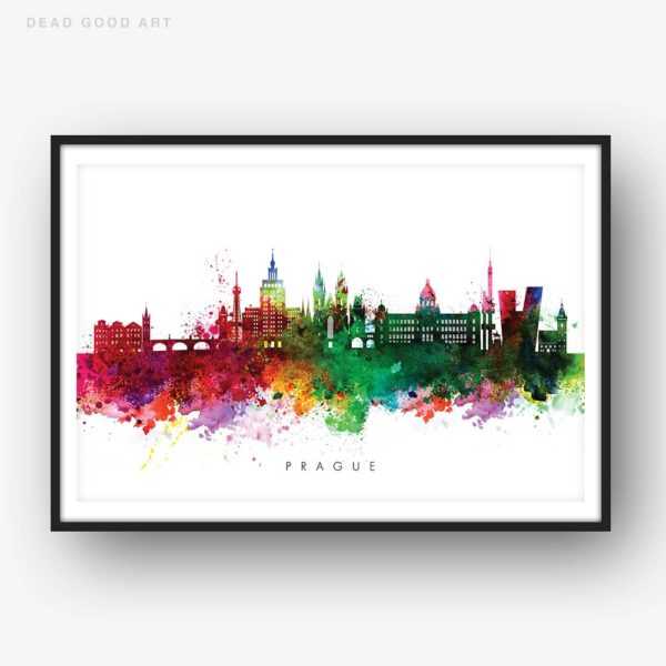 Prague skyline multi color watercolor print