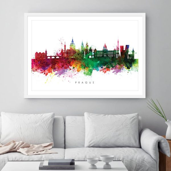 Prague skyline multi color watercolor print framed