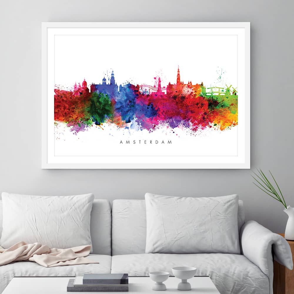 amsterdam skyline multi color watercolor print framed