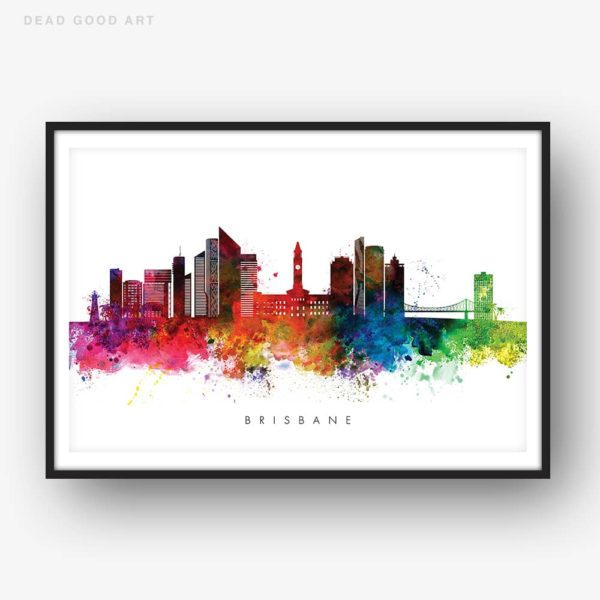 brisbane skyline multi color watercolor print