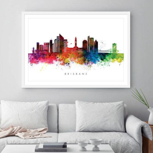 brisbane skyline multi color watercolor print framed