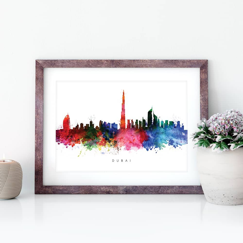 dubai skyline multi color watercolor print closeup