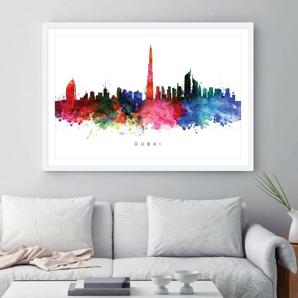 dubai skyline multi color watercolor print framed