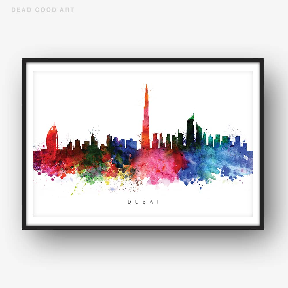 dubai skyline multi color watercolor print