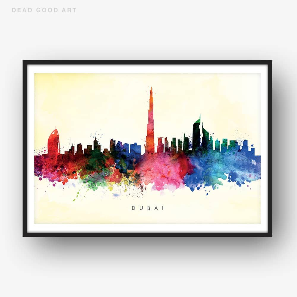dubai skyline yellow wash watercolor print