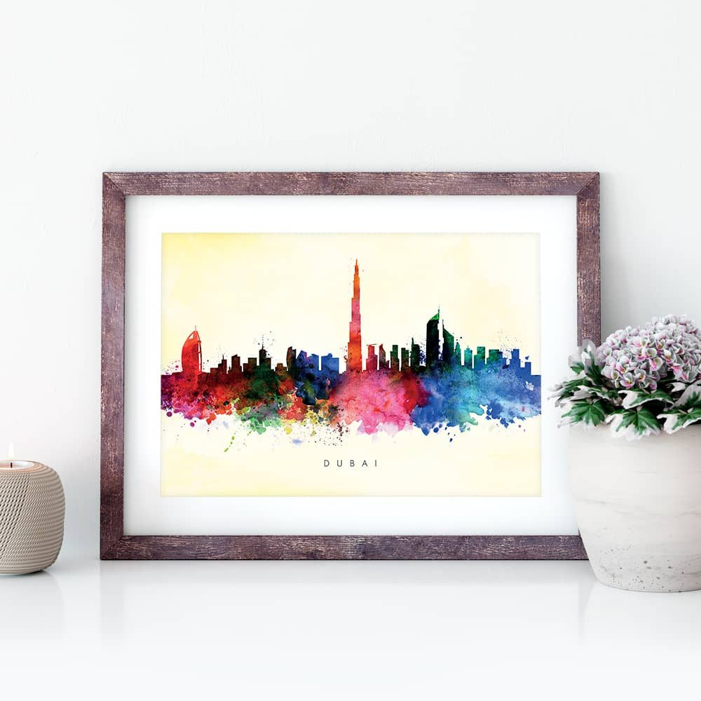 dubai skyline yellow wash watercolor print closeup
