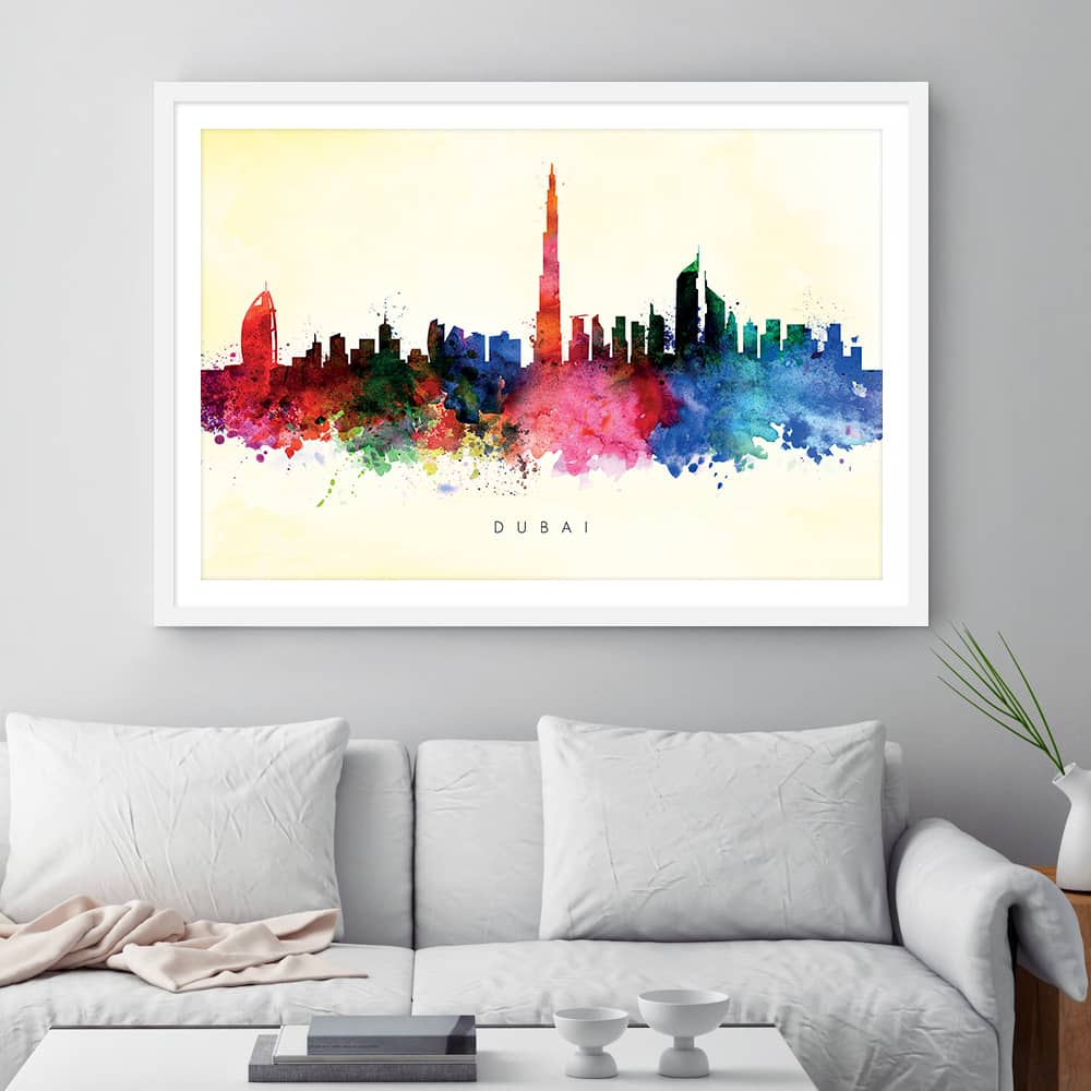 dubai skyline yellow wash watercolor print framed