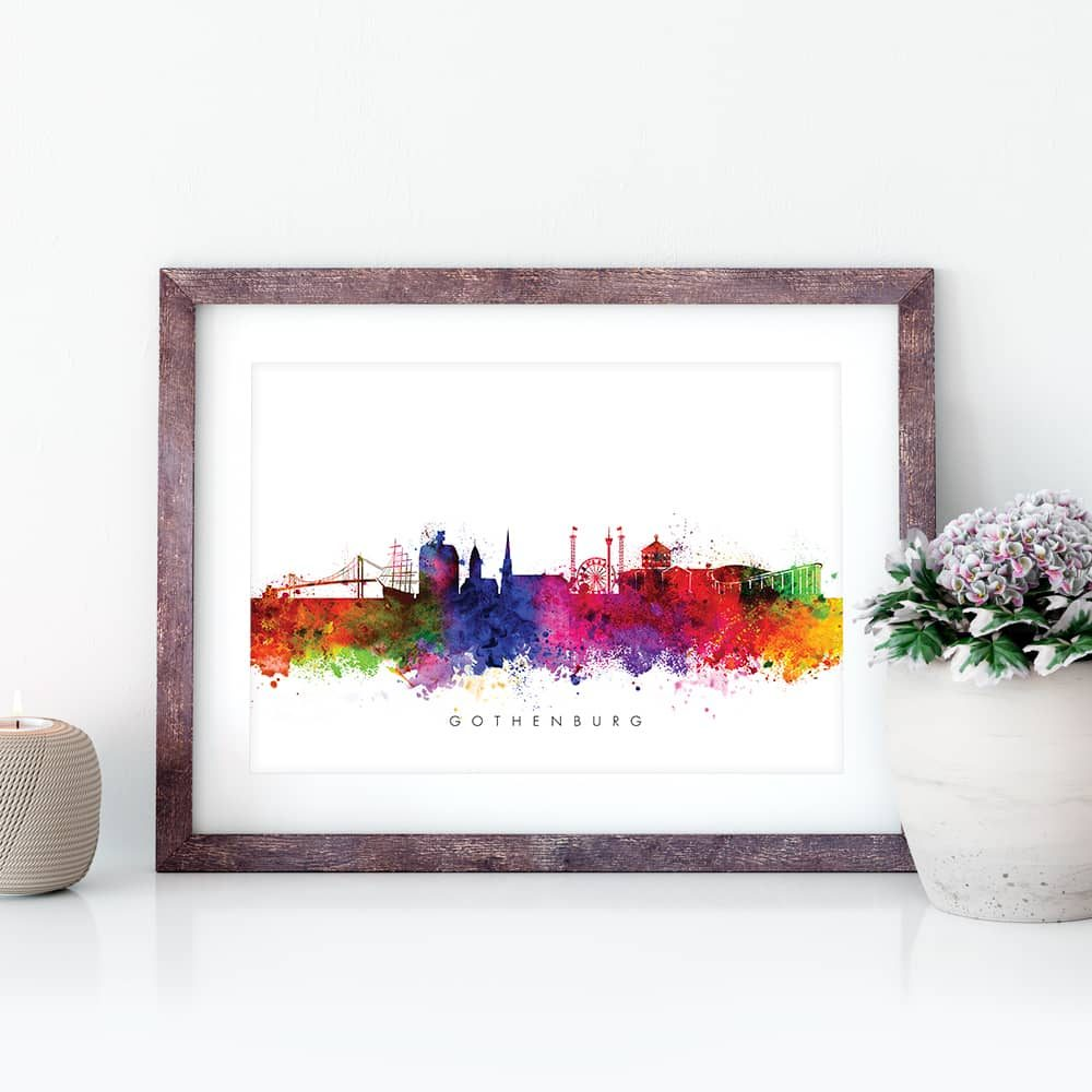 gothenburg skyline multi color watercolor print closeup