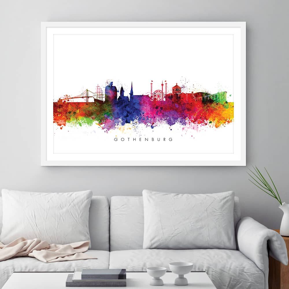 gothenburg skyline multi color watercolor print framed