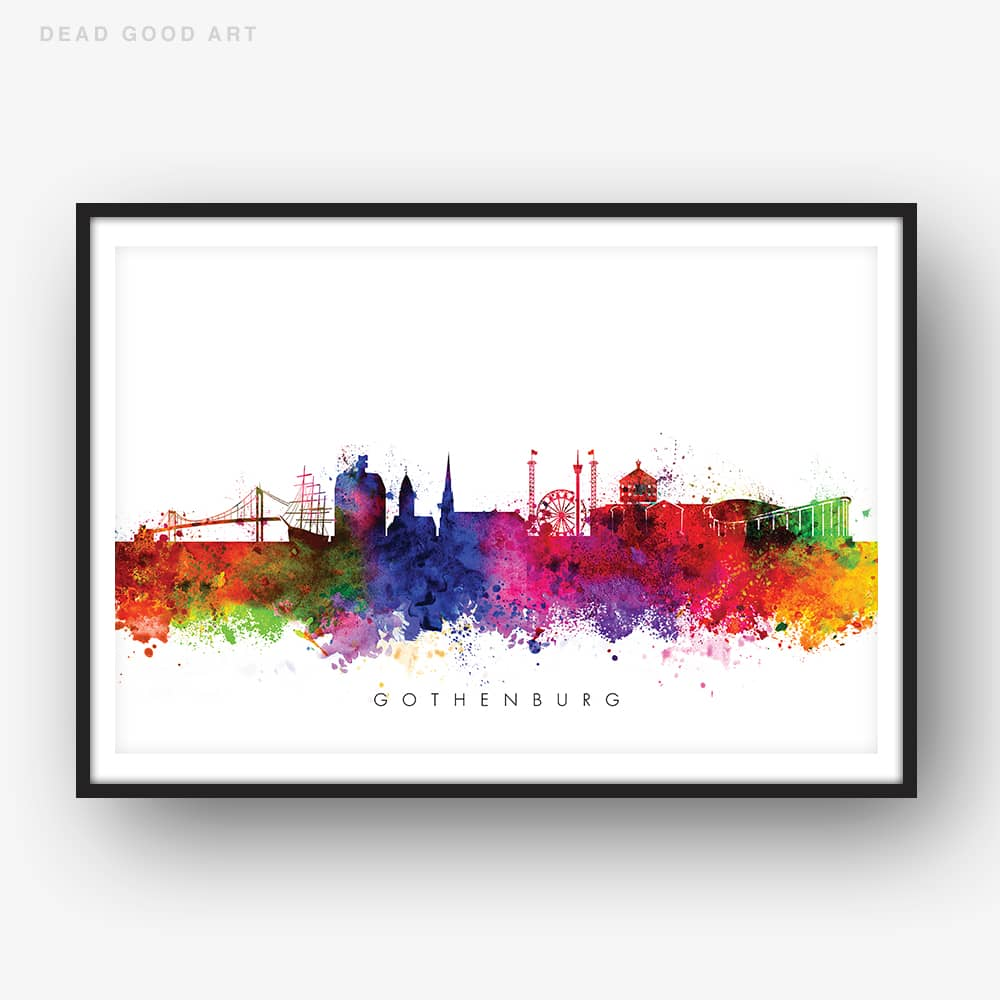 gothenburg skyline multi color watercolor print