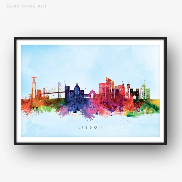 lisbon skyline blue wash watercolor print