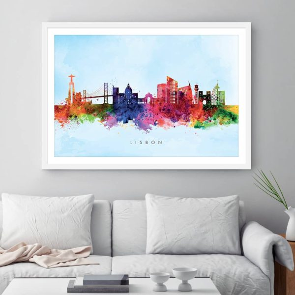 lisbon skyline blue wash watercolor printframed