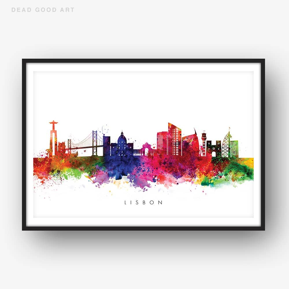 lisbon skyline multi color watercolor print 1