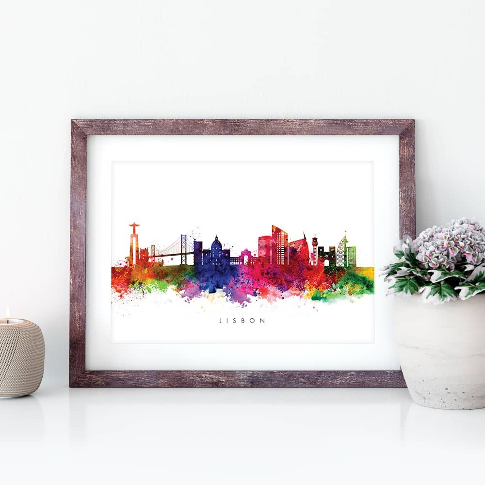lisbon skyline multi color watercolor print closeup