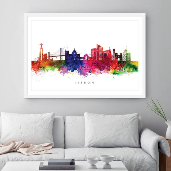 lisbon skyline multi color watercolor print framed
