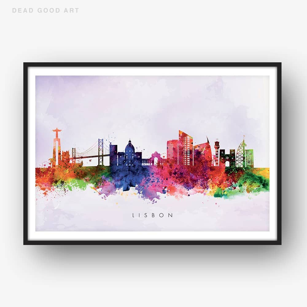 lisbon skyline purple wash watercolor print