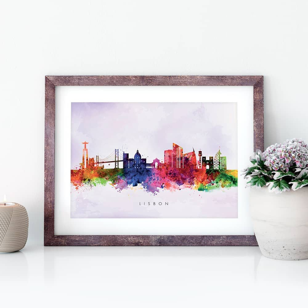 lisbon skyline purple wash watercolor print closeup